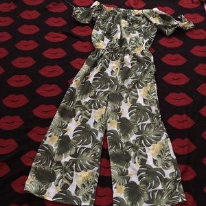 Pants - Green yellow flower jumpsuit off on shoulder S